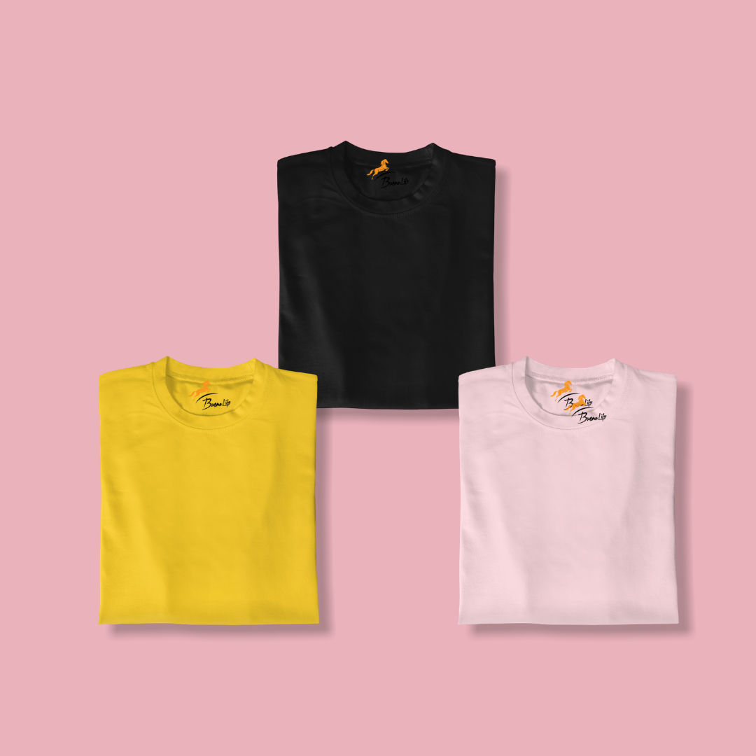 Black+Mustard+Pink Pack Of 3 T-shirt