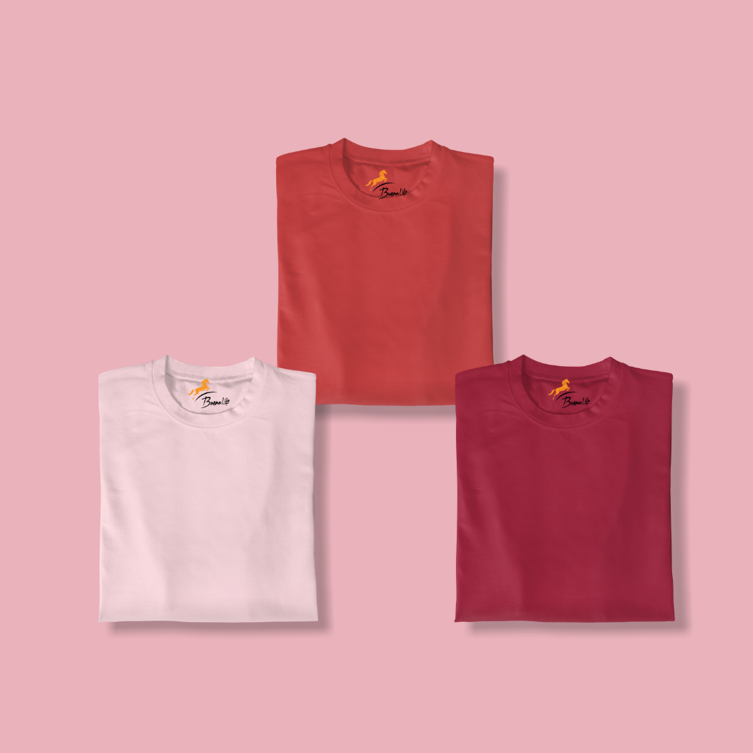 Red+Pink+Maroon Pack Of 3 T-shirt