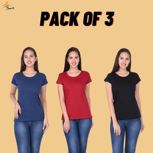 Pack of 3 Plain Half Sleeve Women's T-Shirt (Petrol, Maroon, Black)