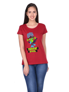 Bueno Life Women's Cotton Printed T-Shirt - Think Evil (Maroon)