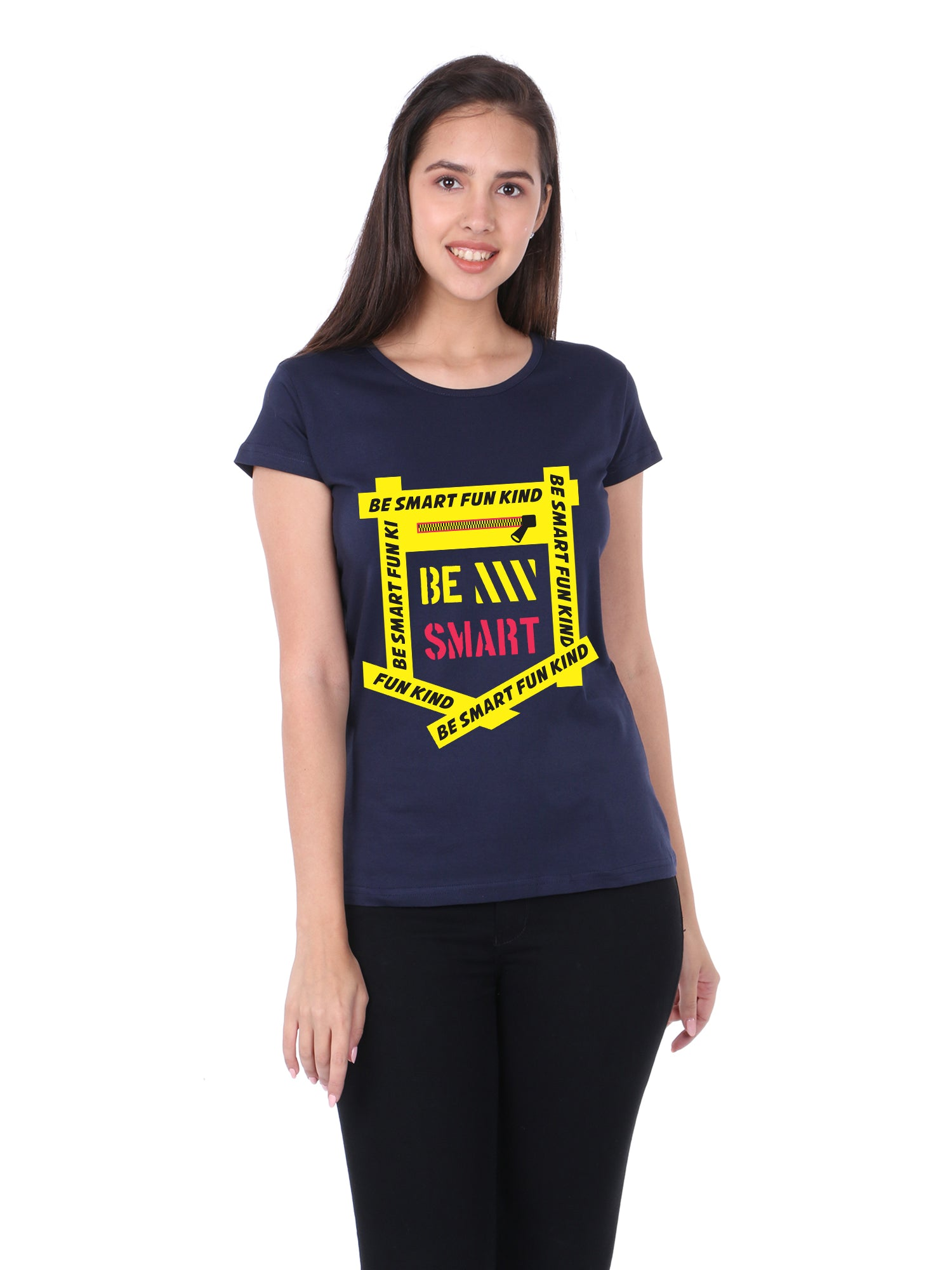 Bueno Life Women's Cotton Printed T-Shirt - Be Smart Fun Kind (Navy Blue)