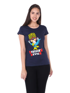 Bueno Life Women's Cotton Printed T-Shirt - Think Evil (Navy Blue)