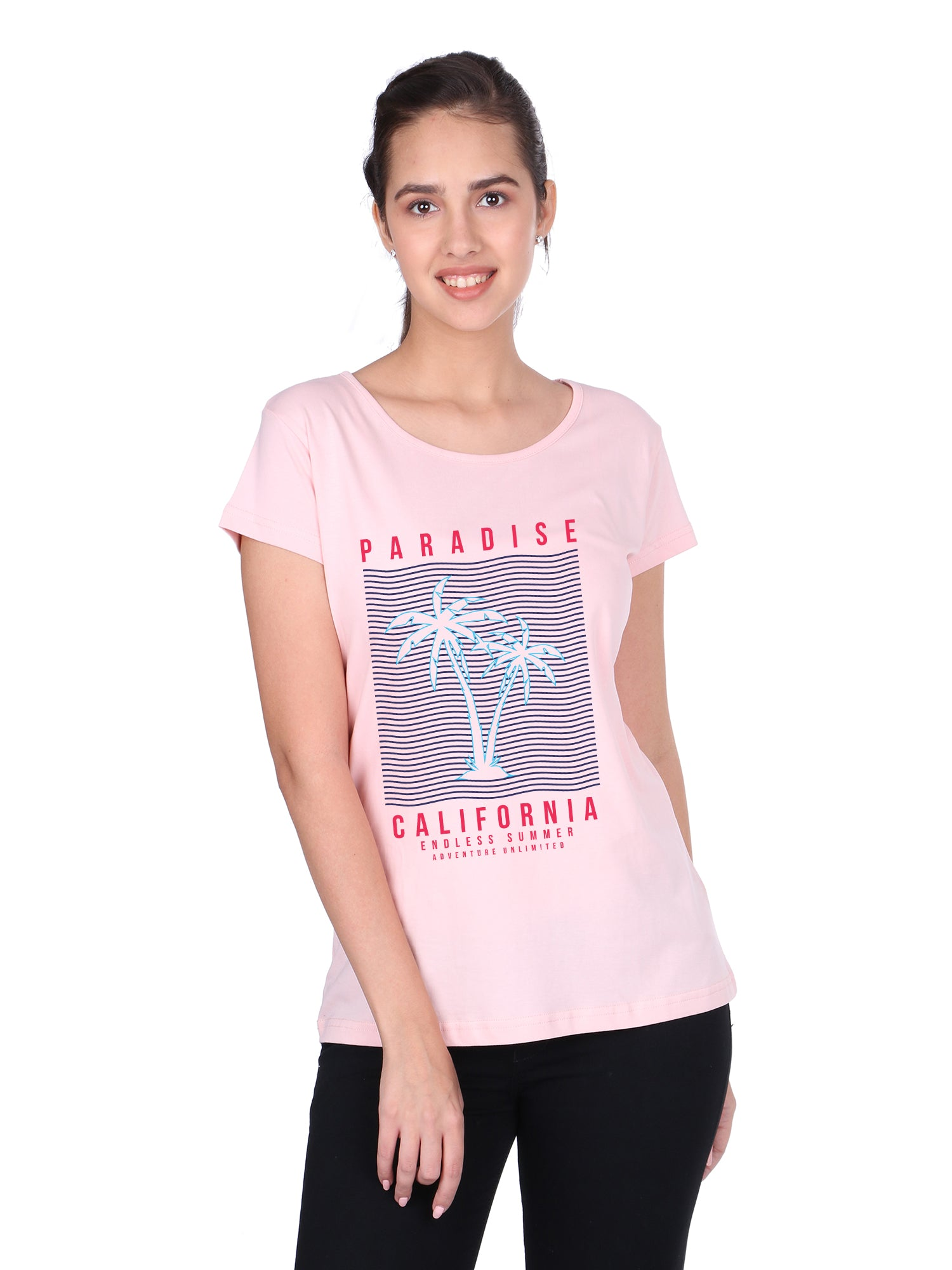 Bueno Life Women's Cotton Printed T-Shirt - Paradise California (Pink)