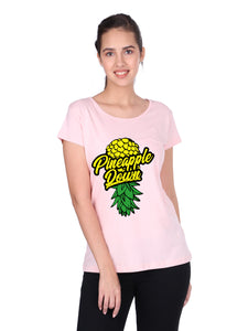 Bueno Life Women's Cotton Printed T-Shirt - Pineapple Down (Pink)
