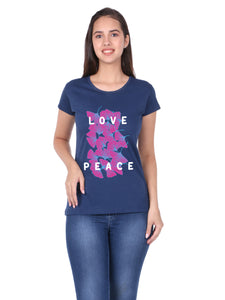 Bueno Life Women's Cotton Printed T-Shirt - Love Peace (Petrol)