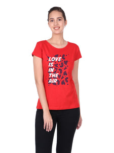 Bueno Life Women's Cotton Printed T-Shirt - Love is in the Air (Red)