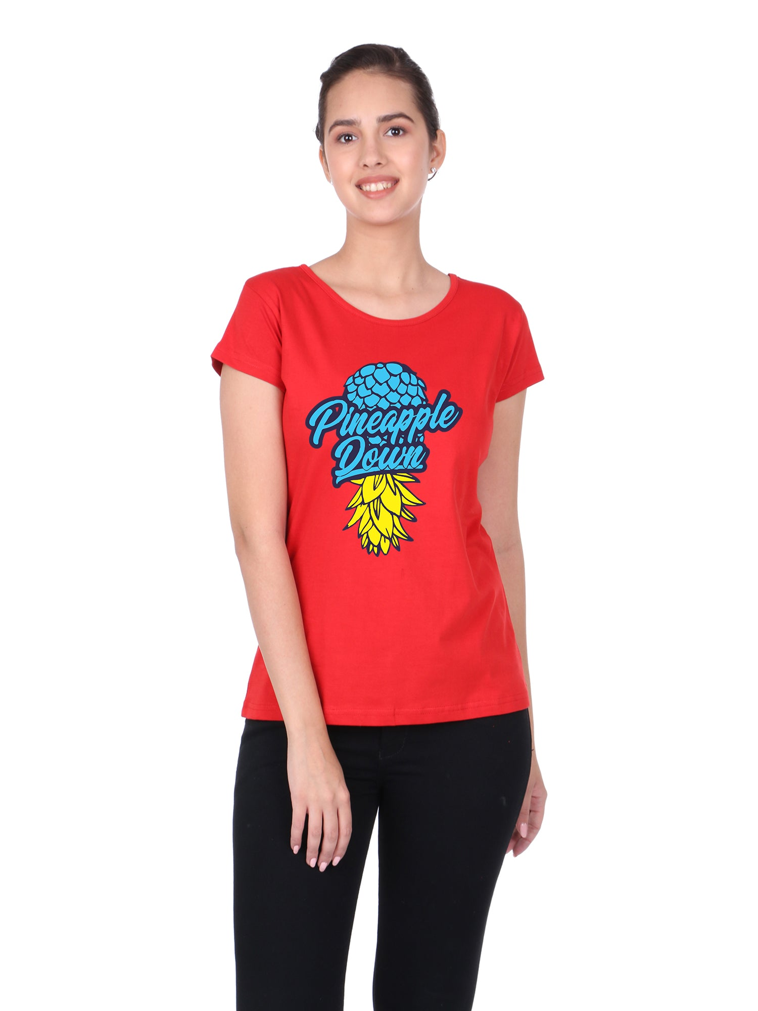 Bueno Life Women's Cotton Printed T-Shirt - Pineapple Down (Red)