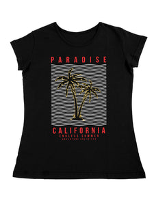 Bueno Life Women's Cotton Printed T-Shirt - Paradise California (Black)