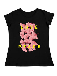Bueno Life Women's Cotton Printed T-Shirt - Love Peace (Black)