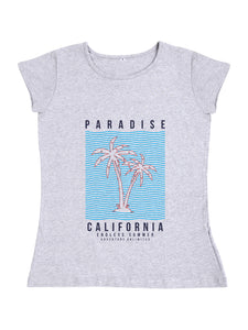 Bueno Life Women's Cotton Printed T-Shirt - Paradise California (Grey)