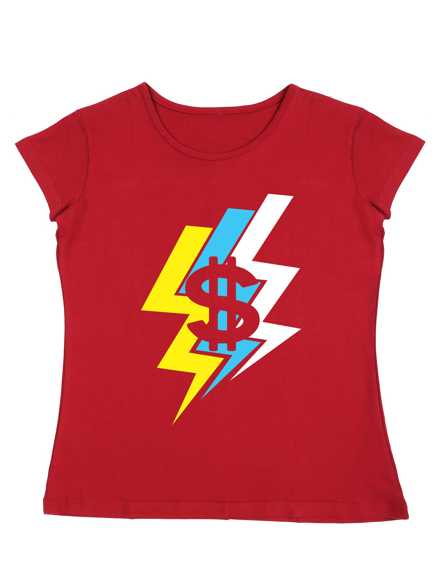 Bueno Life Women's Cotton Printed T-Shirt - Dollar Thunder (Maroon)