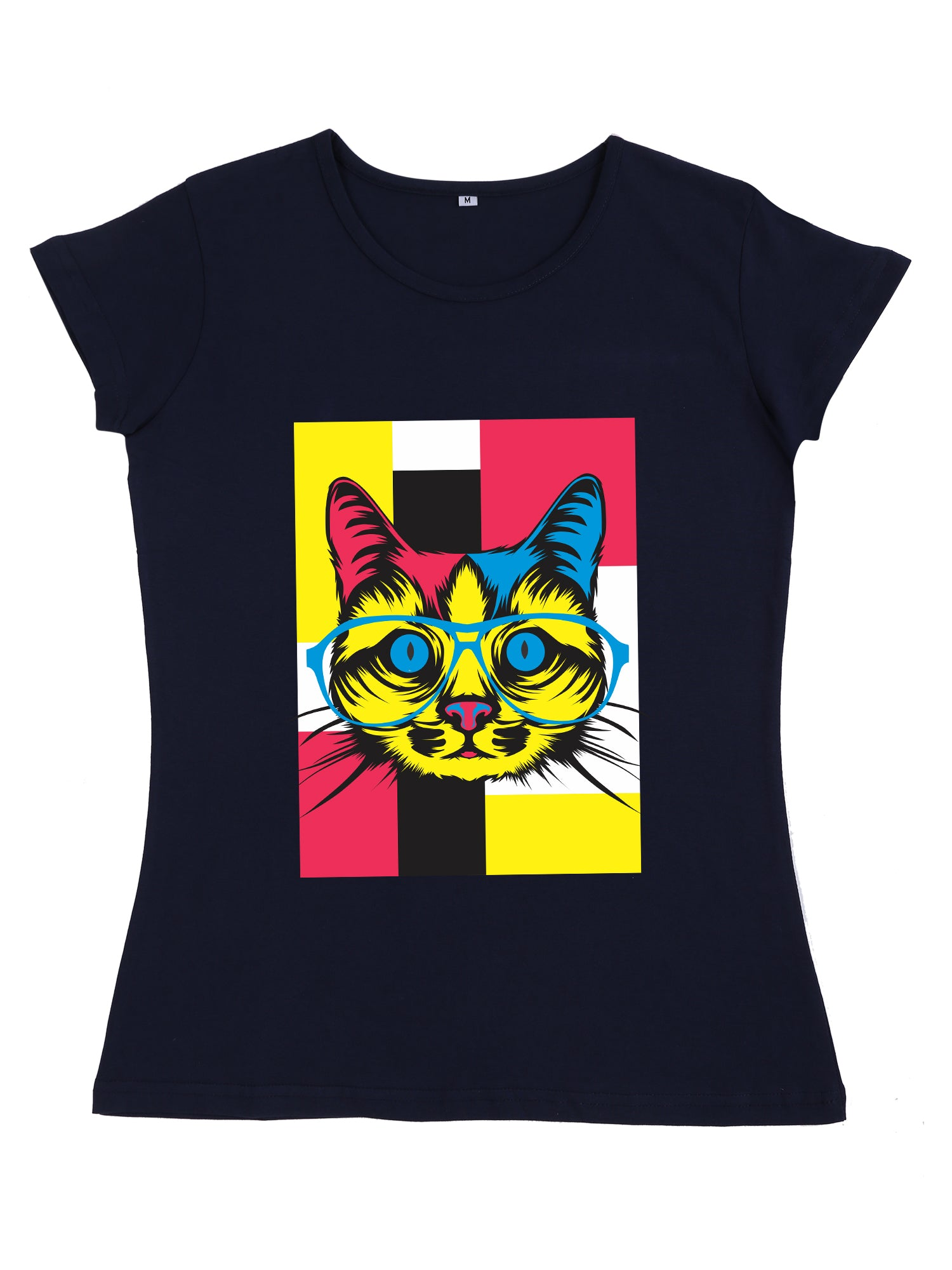 Bueno Life Women's Cotton Printed T-Shirt - Cat Specs (Navy Blue)