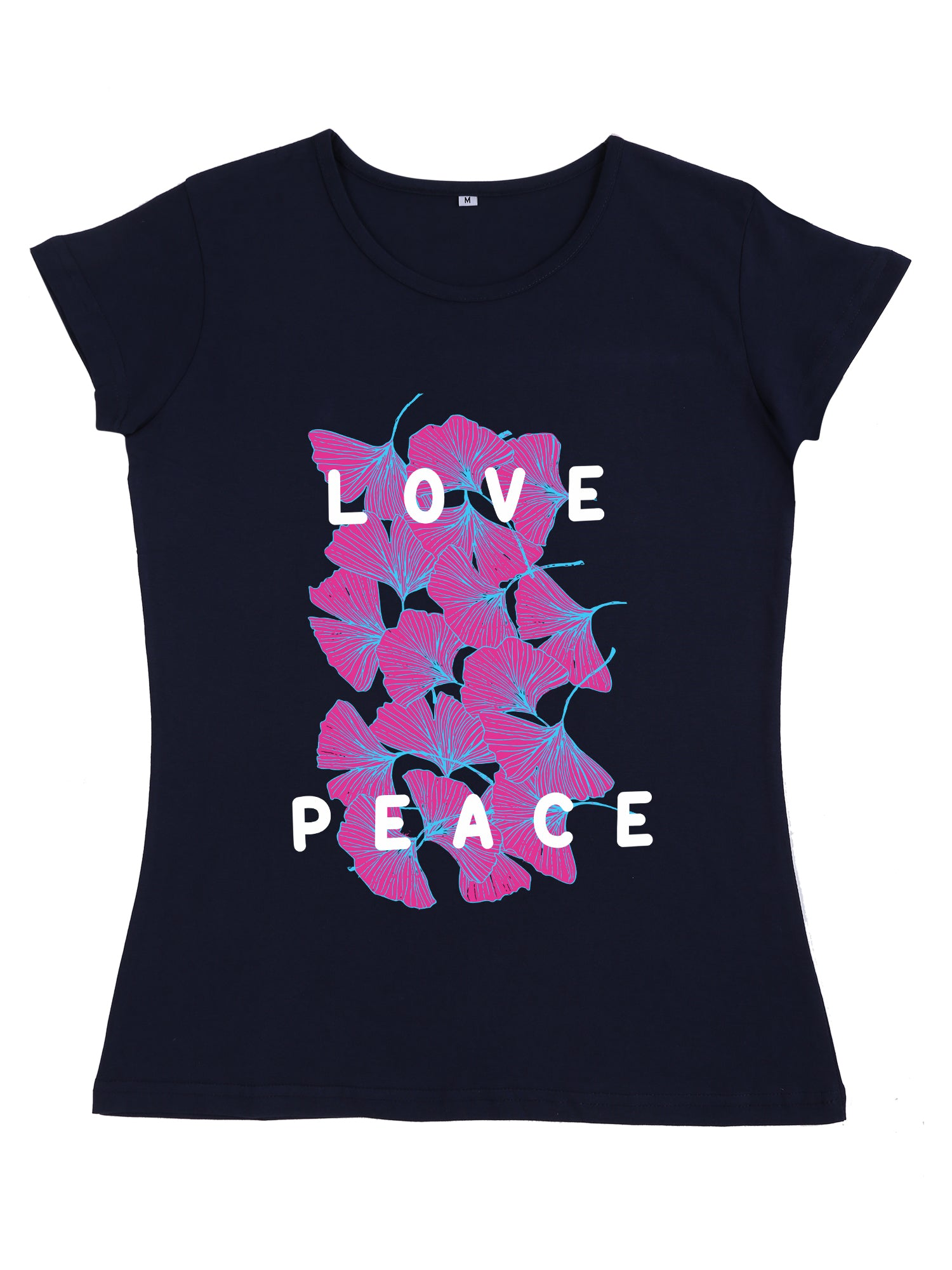Bueno Life Women's Cotton Printed T-Shirt - Love Peace (Navy Blue)