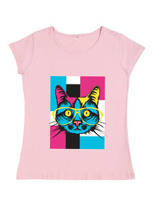 Bueno Life Women's Cotton Printed T-Shirt - Cat Specs (Pink)