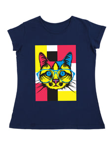 Bueno Life Women's Cotton Printed T-Shirt - Cat Specs (Petrol)
