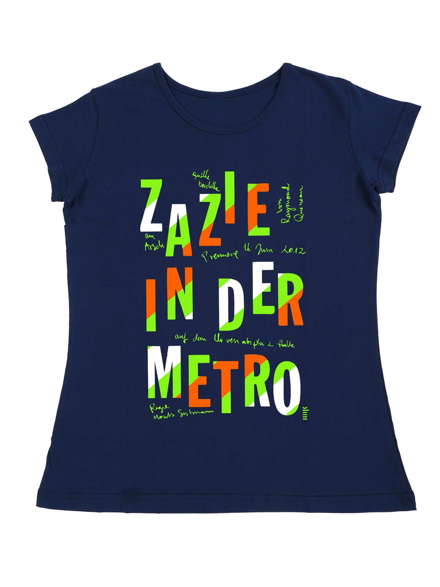 Bueno Life Women's Cotton Printed T-Shirt - Zazie in der Metro (Petrol)