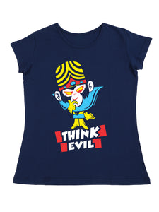 Bueno Life Women's Cotton Printed T-Shirt - Think Evil (Petrol)