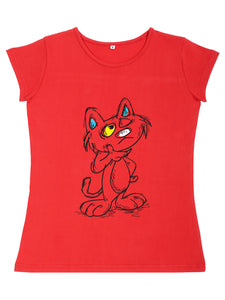 Bueno Life Women's Cotton Printed T-Shirt - Cat Thinking (Red)