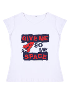 Bueno Life Women's Cotton Printed T-Shirt - Give Me Some Space (White)