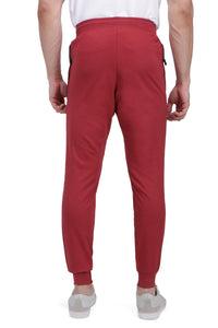 Maroon Track Pant with bottom Rib Zpper