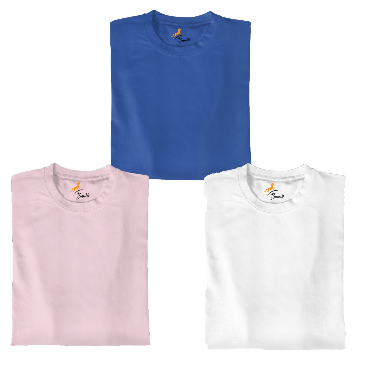 Royal Blue+Pink+White Pack Of 3 T-shirt