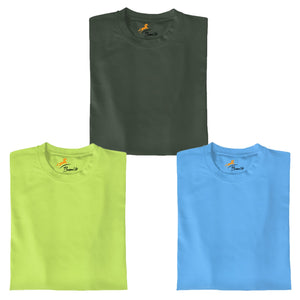 Olive+Neon Green+Skyblue Pack Of 3 T-shirt