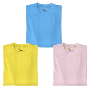 Skyblue+LemonYellow+Pink Pack Of 3 T-shirt