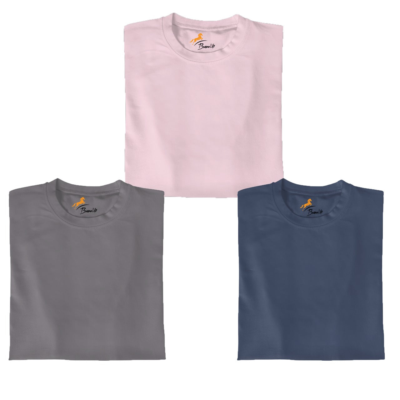 Pink+SteelGray+Petrolblue  Pack Of 3 T-shirt