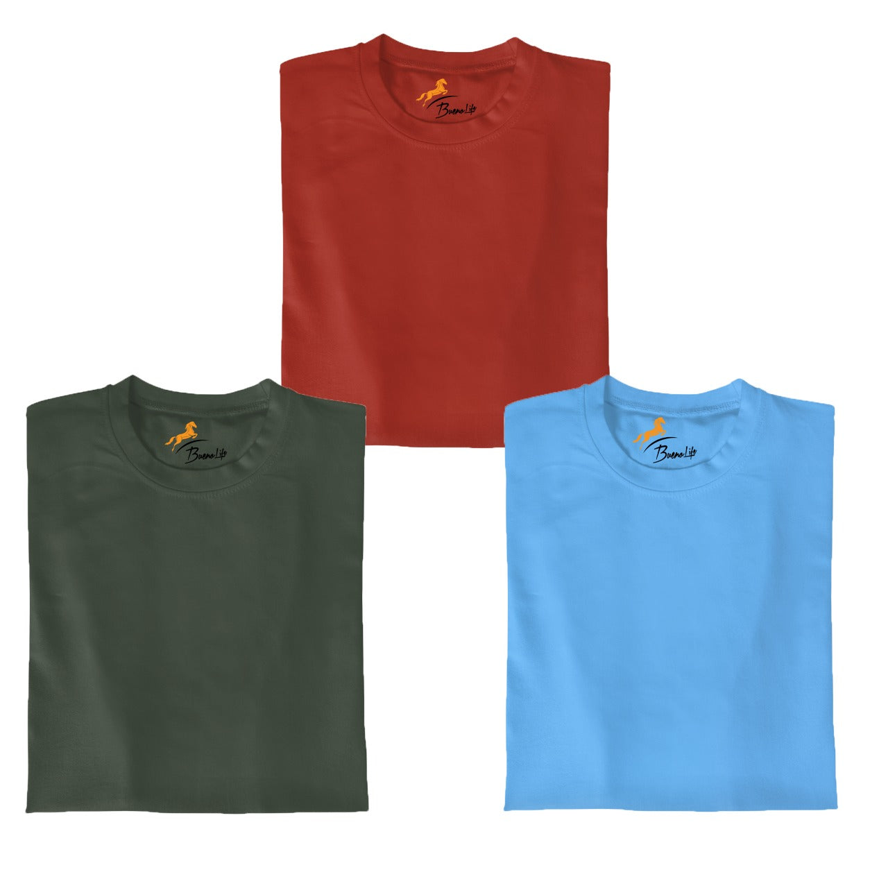 Red+Olive+Skyblue  Pack Of 3 T-shirt