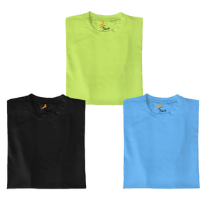 Neon Green+Black+Skyblue Pack Of 3 T-shirt