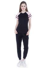 Load image into Gallery viewer, Raglan Half Sleeves with Stripes Women's  T-shirt (Black, Pink)