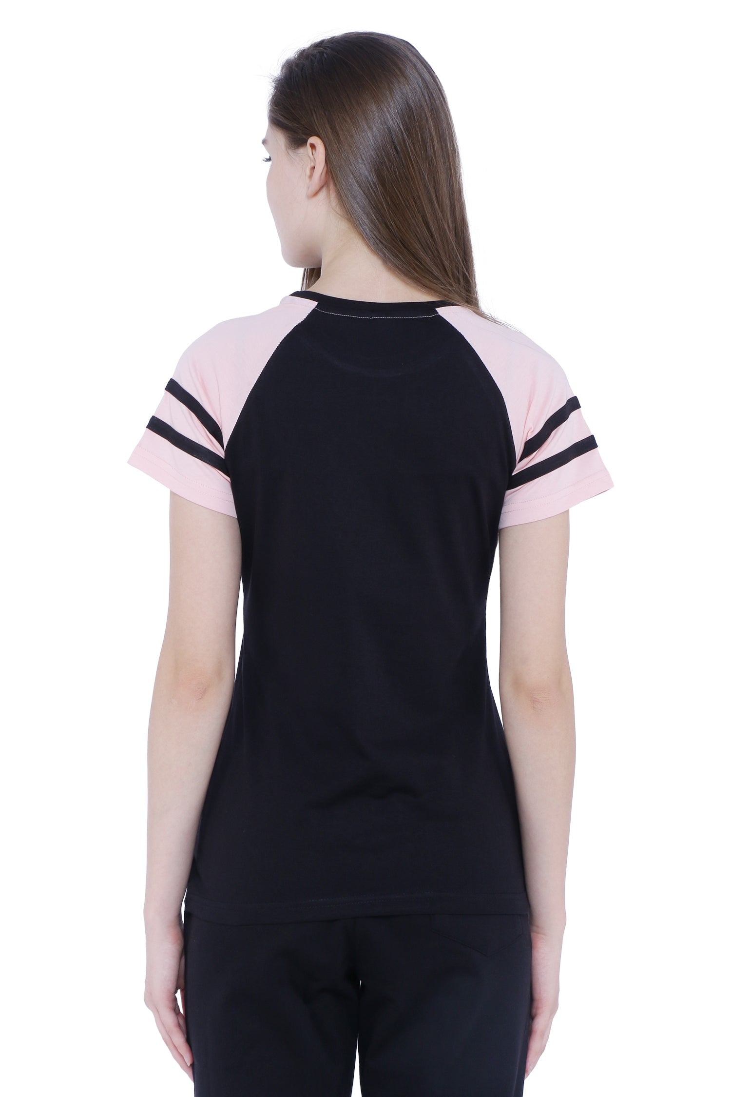 Raglan Half Sleeves with Stripes Women's  T-shirt (Black, Pink)