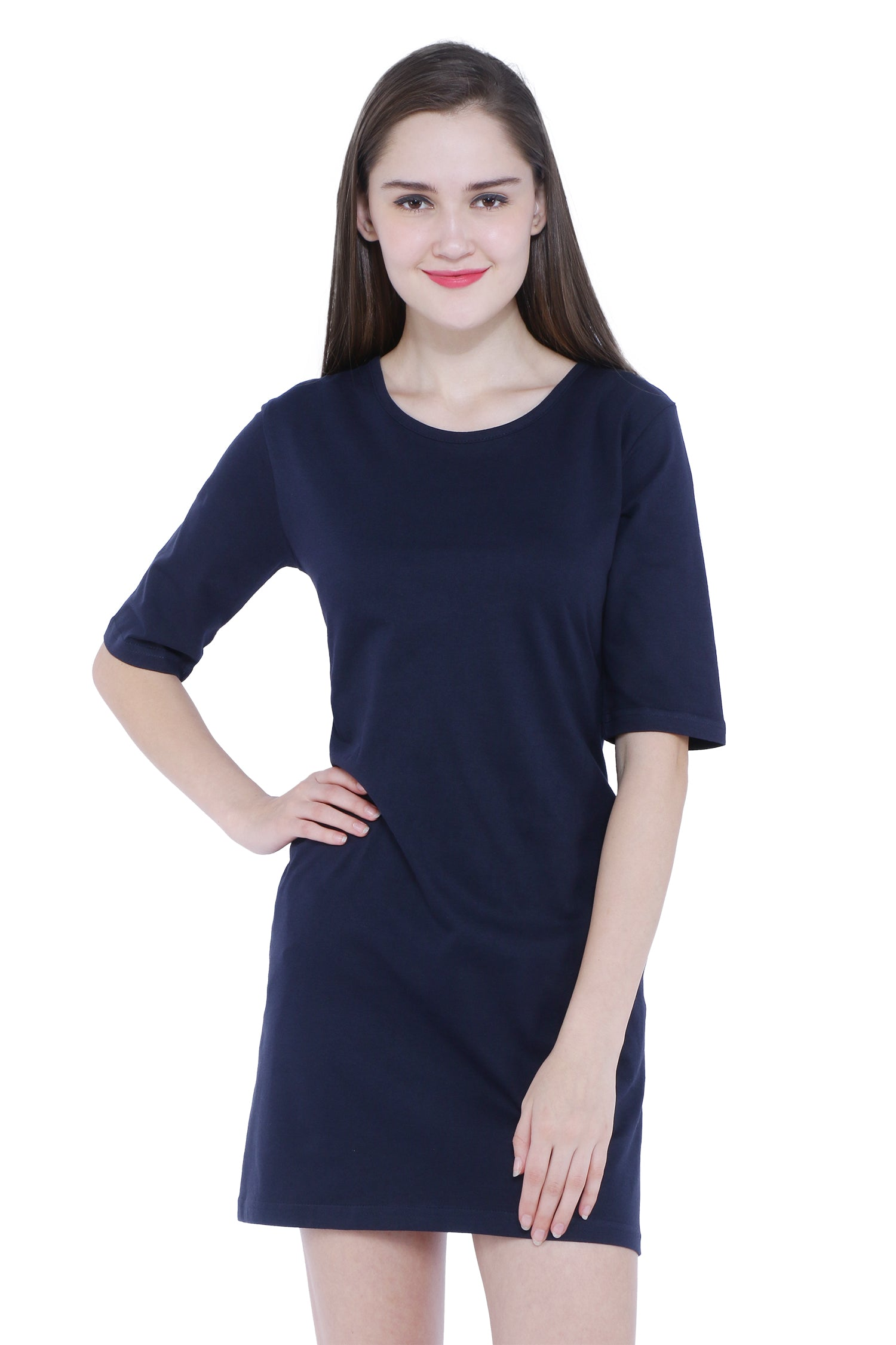 Plain Navy Blue Long Sleeves Women's Long Dress