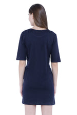 Load image into Gallery viewer, Plain Navy Blue Long Sleeves Women's Long Dress