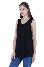 Load image into Gallery viewer, Plain Black Sleeveless Women's Long Dress