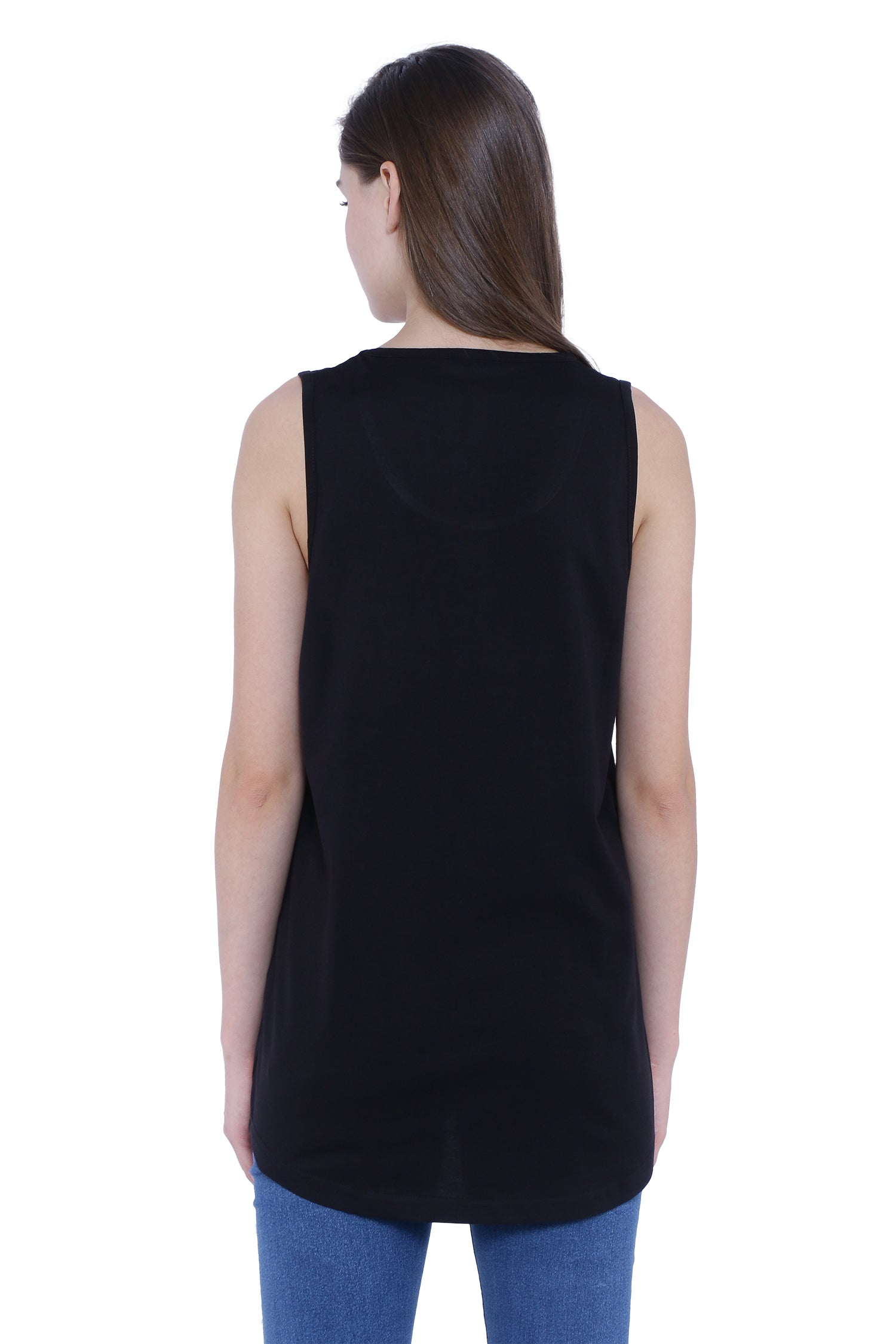 Plain Black Sleeveless Women's Long Dress