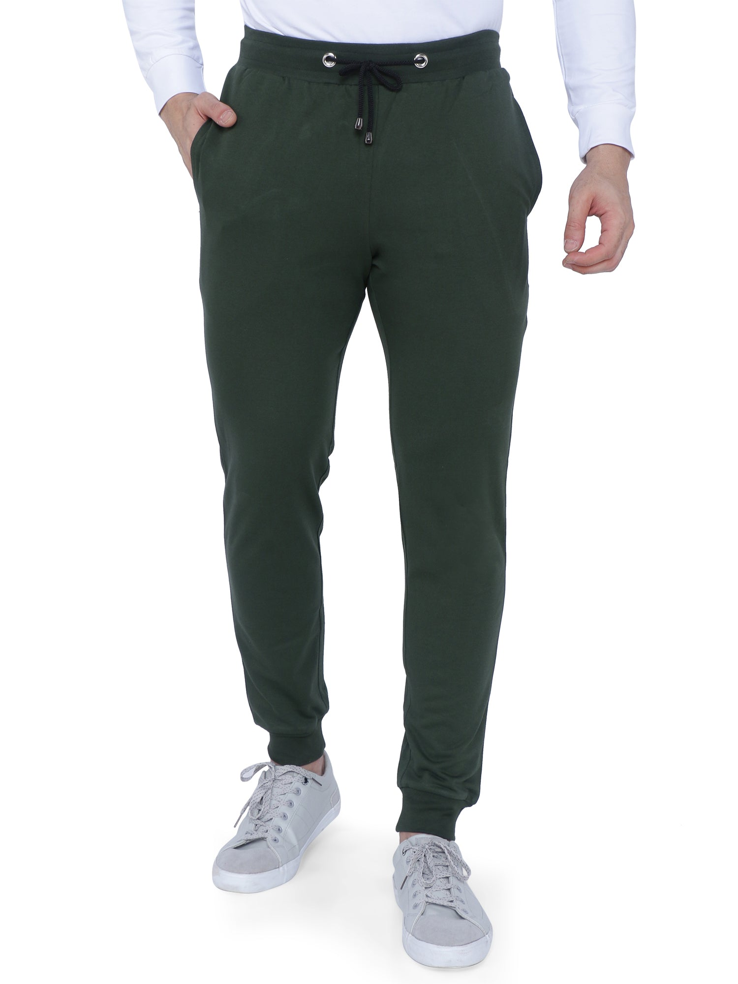 Bueno Life Olive Track Pant with bottom rib, zipper