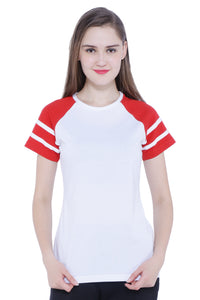 Raglan Half Sleeves with Stripes Women's T-shirt (White, Red)