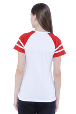 Load image into Gallery viewer, Raglan Half Sleeves with Stripes Women's T-shirt (White, Red)