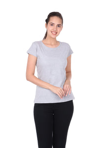 Plain Grey Cotton Half Sleeves Women' T-shirt