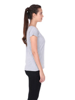 Load image into Gallery viewer, Plain Grey Cotton Half Sleeves Women' T-shirt