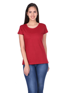 Plain Maroon Cotton Half Sleeves Women' T-shirt