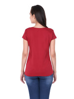 Load image into Gallery viewer, Plain Maroon Cotton Half Sleeves Women' T-shirt