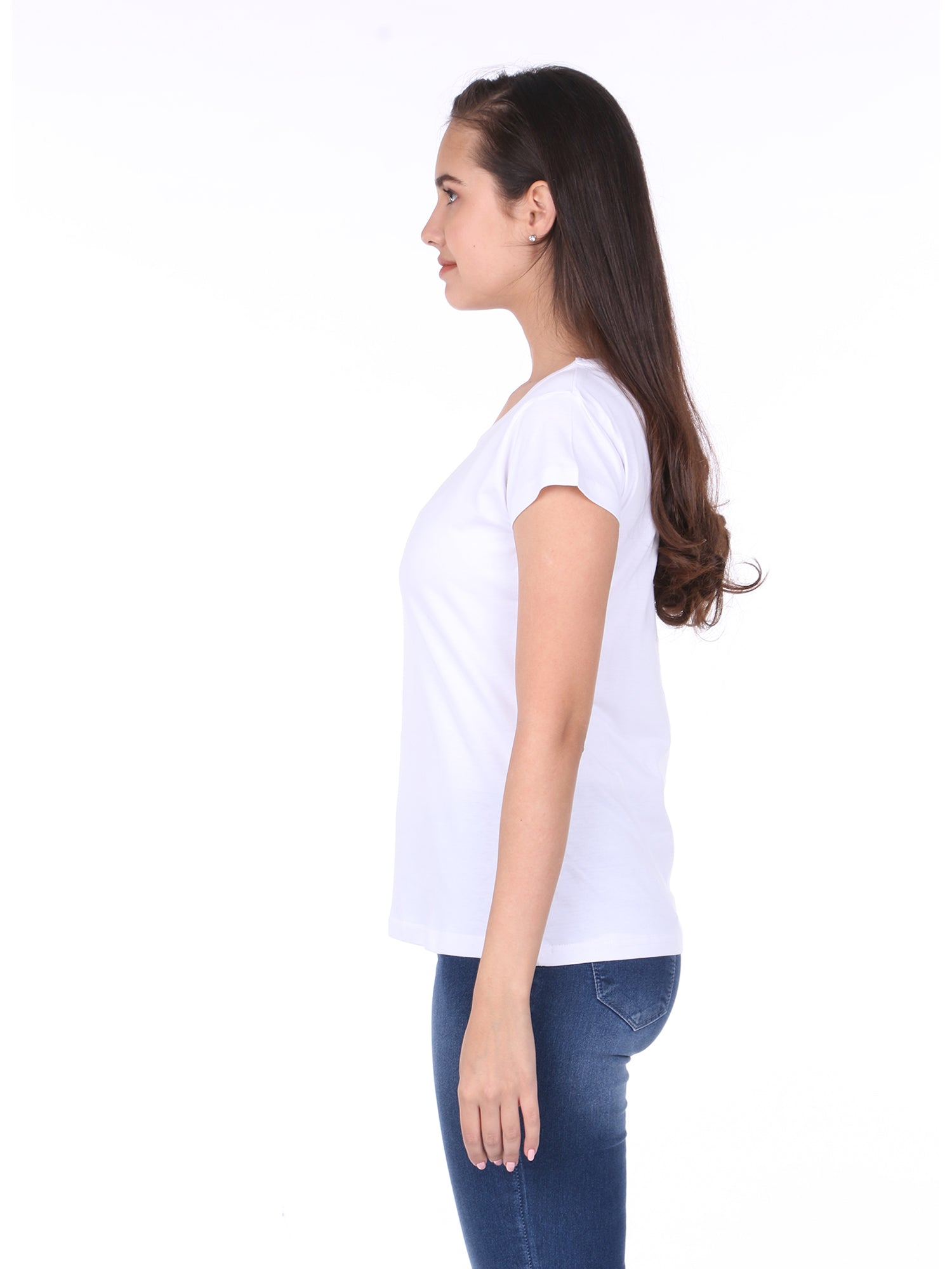 Plain White Cotton Half Sleeves Women' T-shirt