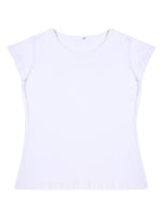 Load image into Gallery viewer, Plain White Cotton Half Sleeves Women' T-shirt