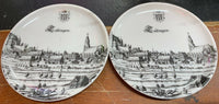 "Scarce ""Lubingen"" Germany B&W Collectors Plate GEGR 1849 Uhlenhorst - Qty Of 2"