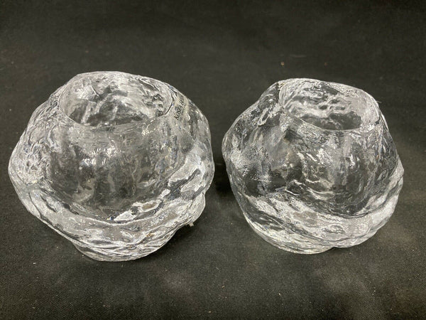 Pair of Kosta Boda Snowball Glass Candle Holders/ votive by Ann Wärff Exquisite!