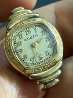 VTG Gruen Veri-Thin Ladies Women's Wristwatch Watch Guildite Switzerland Square