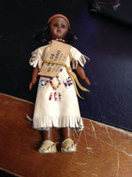 "Vintage Indian Kitschy Doll 7.5"" W Papoose Doll Intact w Baby Carrier"