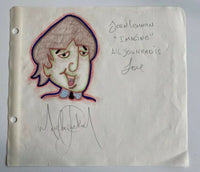 Michael Jackson RARE Drawing of John Lennon (Beatles) Autographed by MJ